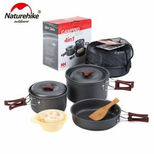 Naturehike Outdoor Tableware Camping Hiking Cookware Set 4 in 1 Picnic For 2-3