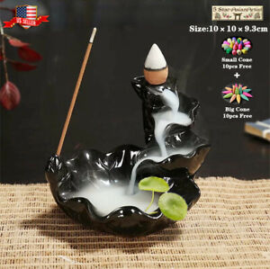Ceramic Backflow Incense Cone Burner Holder Lotus Waterfall FY019amp; 10 Cones Gift
