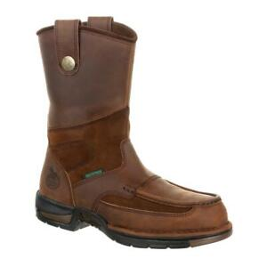 Men#x27;s Athens Georgia Waterproof 10 inch Wellington Work Boots Soft BROWN
