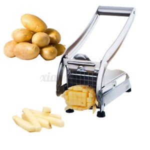 French Fry Vegetable Potato Cutter Slicer Stainless Steel Machine w/ 2 Blades US