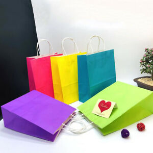 Colorful Gift Kraft Paper Bags Gifts Party Shopping Bag Package Bags with Handle $22.59