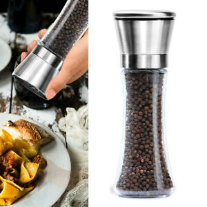 Premium Salt and Pepper Grinder Set of 2 Stainless Steel 6 Oz Glass Tall Body US