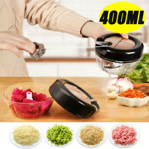 Manual Pull Food Chopper Cutter Slicer Peeler Dicer Vegetable Onion Garlic USA