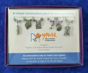 Wine Glass Charms Set Of 6 My-N-Yours Metal Wine Theme Charms With Colored Beads