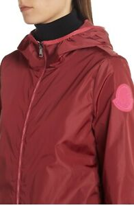 $655 Moncler AUTH Macro Logo Patch Hood Layer Up Nylon Jacket 0 Invive Dark Red
