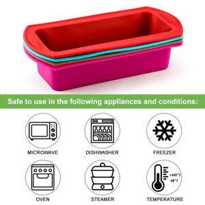 Silicone Bread Loaf Cake Mold Non Stick Baking Pan Oven Rectangle Mould Bakeware