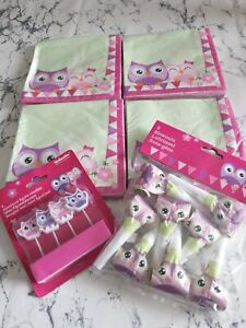 Owl Owls Happy Birthday Pack Set Napkins Cake Candles Blowers