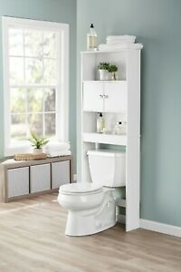 Mainstays Bathroom Storage Over the Toilet Space Saver with Three Shelves, White
