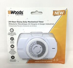 Woods 24-hr Heavy Duty Mechanical Timer, Indoor, 1 Grounded Outlet, 96 Settings