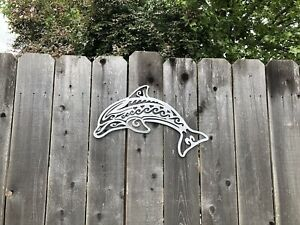 Dolphin metal wall art home decor. decor metal cutout Beach Sea Life $30.99