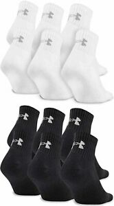 3 Pair Mens Under Armour Charged Cotton 2.0 Quarter Crew Socks Black White Large $13.99