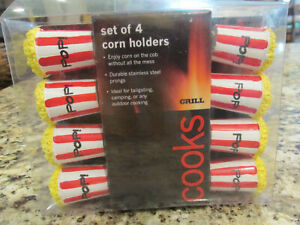 CORN ON THE COB HOLDERS MOVIE POPCORN CUP HANDLES COOK'S BY JC PENNEY SET OF 4