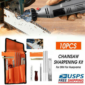 10pcs Chainsaw Chain Sharpening Kit Tool Set Guide Bar File With Carrying Pouch