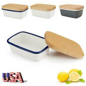 Enamel Butter Dish Kitchen Storage Butter Container Box with Wood Lid