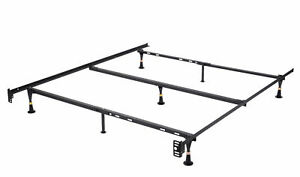 7-Leg Heavy Duty Metal Queen Size Bed Frame with Center Support and, Glide Legs