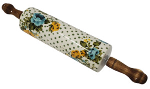 #The Pioneer Woman Rose Shadow Flower Ceramic Rolling Pin w/ Acacia Handles