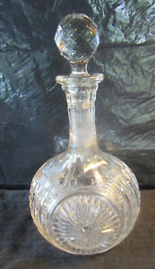 Mid-Century Decanter Clear Crystal Liquor with Glass Globe Wine Stopper Top