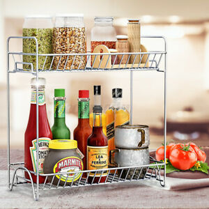 Stainless Steel Spice Rack 2 Tier Kitchen Storage Organizer Jars Bottle Shelf US
