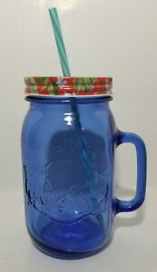 *The Pioneer Woman 32 Oz. Sapphire Blue Mason Jar with Floral Lid
