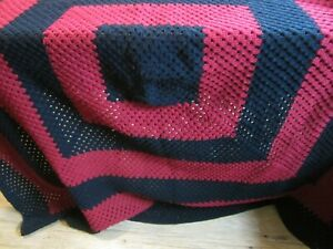 Hand Made Afghan Crocheted Red & Black Afghan Square Thick Heavy