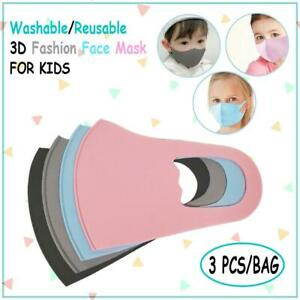 3 PCS Washable Reusable 3D Fashion Face Mask for KIDS Choose your color