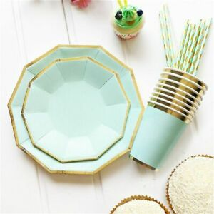 8pcs Gold Mint Green Disposable Tableware Party Paper Plates Cups Straw Birthday