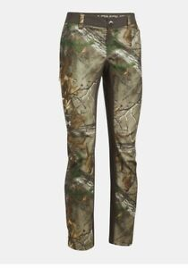 SIZE 10 Under Armour Fletching Hunting Real Tree Forest Camo Women Pants 1293111 $49.99