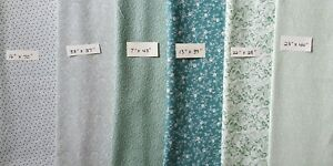 Lot of Vintage Green Cotton Fabric, 6 pieces, Quilting, Sewing, Crafts