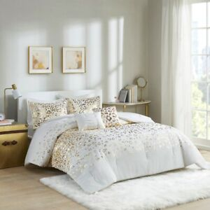 New Chic Deluxe Gold Leopard ivory 5 pcs Comforter Full Queen Set Twin XL 4 pcs