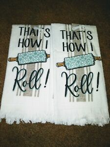 2 New Kitchen Dish Towels Thats How I Roll 14x24 Hand Towels 100% Cotton