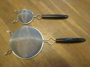 Vintage Lot 2 Small Mesh Hand Held Strainers