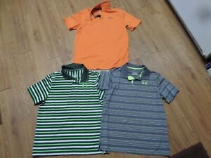 euc lot of 3 boys yxl loose fit under armour polo shirts stripedamp;solid $45.99