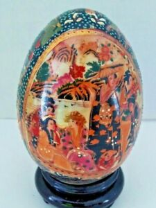 Royal Satsuma porcelain egg with stand
