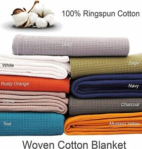 Cotton Bed Blanket -100% Ring spun Woven Waffle Small Honeycomb Twin/Queen/King