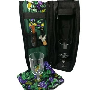 Picnic Time Insulated Green Backpack w 2 Wine Glasses, Napkins, Cork and Opener