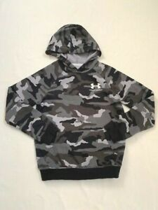VGUC under armour boys gray camo hoodie sweatshirt YMD Med 10 12 $24.95