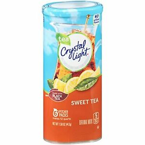 CRYSTAL LIGHT SWEET TEA Powdered DRINK MIX (6 Pitcher Packs x 2 Cans) FREE Ship
