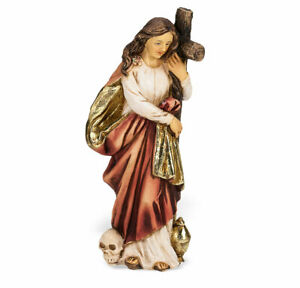 Saint Mary Magdalene Statue Hand Painted Gold Leaf Accents 4quot; Boxed