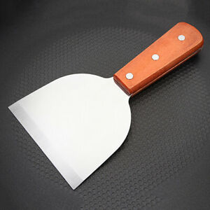Cooking Stainless Steel Spatula +Wood Handle Pancake Steak For BBQ Grill Griddle