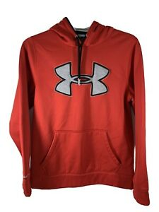Under Armour Men's Pullover Sweatshirt Hoodie Red Big Logo Size Small $12.99