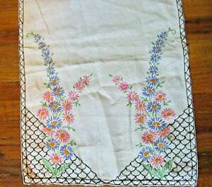 Vintage Embroidered Table Runner Floral Linen Measures 36quot; Long X13quot; Wide