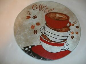 New! Glass Coffee Time Coffee Cups Glass Kitchen Glass Cutting Board Round