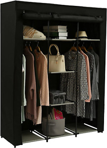 Closet Wardrobe Portable Clothes Storage Organizer with Metal Shelves and Dustpr