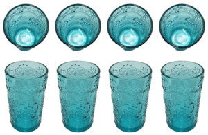 *The Pioneer Woman Embossed Teal Glass Amelia Glass Tumbler 15.2 oz Set of 4,New