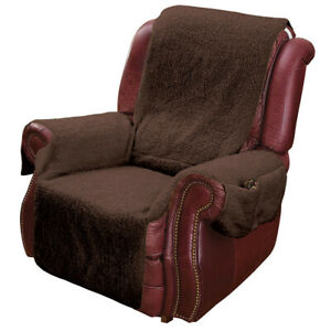 Recliner Chair Cover Protector w Pockets for Remotes and Cellphones Brown