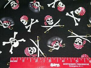 FAT QUARTER Skulls, Crossbones, Pirates,Red Bandanas on Black Fabric Fat Quarter