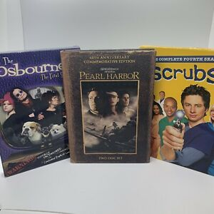 Lot of 3 DVD Movie Collection Sets Pearl Harbor Scrubs The Osbournes