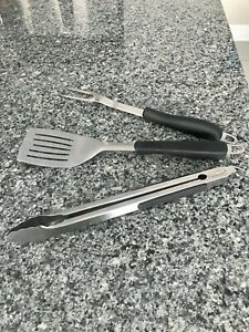 BBQ Tool Set 3 Piece Barbeque Grill Stainless Steel Cooking Utensil Set