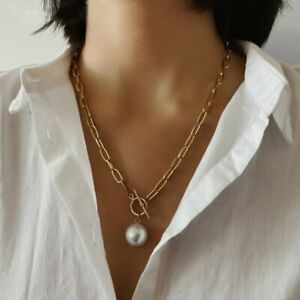Gothic Baroque Pearl Pendant Choker Necklace Women Wedding Punk Gold Long Chain