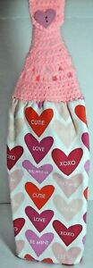 New Hand-Made Hearts Double Thick Crochet Top Hanging Kitchen Towel Dry Hands
